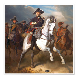Poster  Frederick the Great on horseback - Wilhelm Camphausen