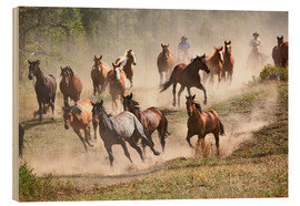 Wood  Horses running during roundup - Adam Jones