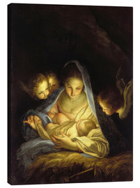 Canvas print  Mary with the Christ child bent over the crib
