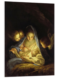 Foam board print  Mary with the Christ child bent over the crib