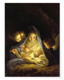 Premium poster  Mary with the Christ child bent over the crib