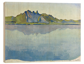 Wood print  Lake Thun with Stockhorn chain - Ferdinand Hodler