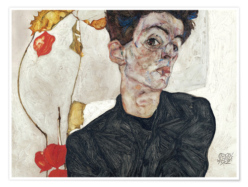 Premium poster Egon Schiele with Physalis