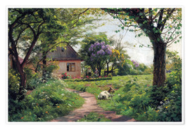 Peder Mork Monsted - Grazing Goat in a garden, Tyllinge