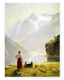 Premium poster  Summer day on a Norwegian fjord - Hans Dahl