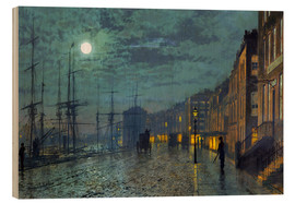 Wood print  Docks at moonlight - John Atkinson Grimshaw