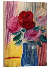 Wood print  Flowers in a blue vase - Alexej von Jawlensky