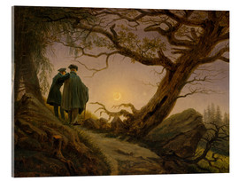 Acrylic print  Two men contemplating the moon - Caspar David Friedrich