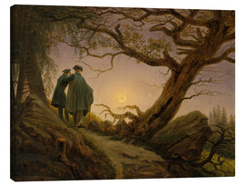 Canvas  Two men contemplating the moon - Caspar David Friedrich