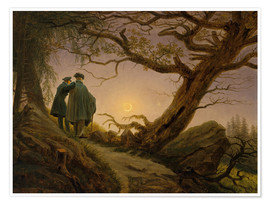 Poster Two men contemplating the moon