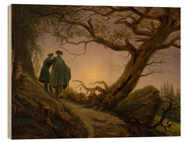 Wood  Two men contemplating the moon - Caspar David Friedrich