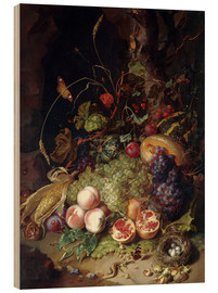Wood print  Still life with fruits and insects - Rachel Ruysch