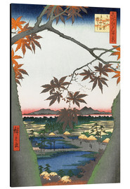 Aluminium print  Maple leaves, the Tekona shrine and the bridge - Utagawa Hiroshige
