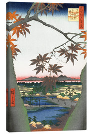 Canvas  Maple leaves, the Tekona shrine and the bridge - Utagawa Hiroshige