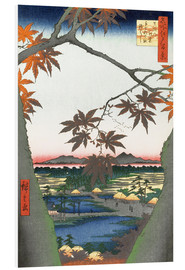 Foam board print  Maple leaves, the Tekona shrine and the bridge - Utagawa Hiroshige
