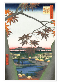Premium poster  Maple leaves, the Tekona shrine and the bridge - Utagawa Hiroshige