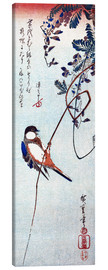 Canvas print  Swallow sitting on a branch of a wisteria - Utagawa Hiroshige