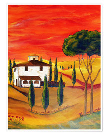 Premium poster Warmth of Tuscany