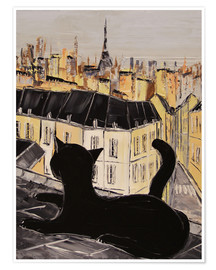 Premium poster Black cat on the roofs of Paris