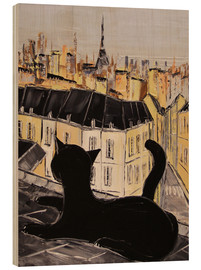 Wood print  Black cat on the roofs of Paris - JIEL