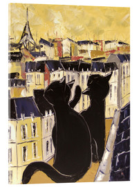 Acrylic glass  Cats on the rooftops of Paris - JIEL