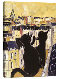 Canvas  Cats on the rooftops of Paris - JIEL