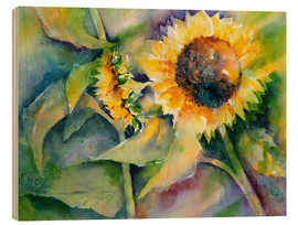 Wood print  Sunflower - Jitka Krause