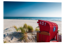Acrylic print  Red beach chair with a view - Reiner Würz RWFotoArt