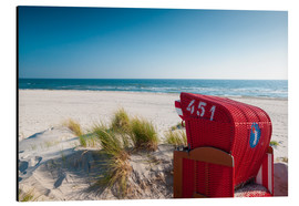 Aluminium print  Red beach chair with a view - Reiner Würz RWFotoArt