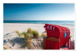 Premium poster  Red beach chair with a view - Reiner Würz RWFotoArt