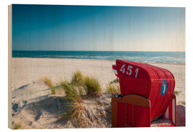 Wood print  Red beach chair with a view - Reiner Würz