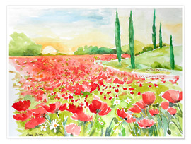 Premium poster Field of poppies