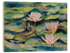 Wood print  Lotus flowers - Jitka Krause