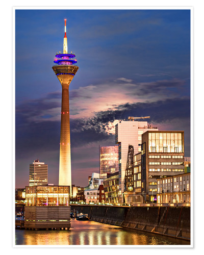 Premium poster Dusseldorf media harbor at night