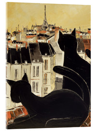 Acrylic glass  Black cats on Parisian roof - JIEL