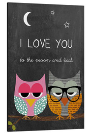 Alu-Dibond  Owls -  I love you to the moon and back - GreenNest