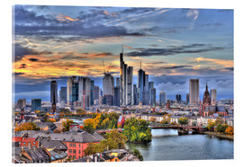 Acrylic glass  Frankfurt skyline in the evening light - HDR - HADYPHOTO by Hady Khandani