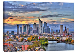 Canvas  Frankfurt skyline in the evening light - HDR - HADYPHOTO by Hady Khandani