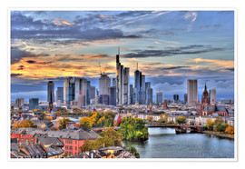 Premium poster  Frankfurt skyline in the evening light - HDR - HADYPHOTO by Hady Khandani