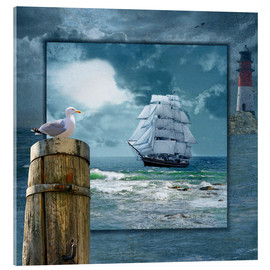 Acrylic print  Collage With Sailing Ship - Monika Jüngling