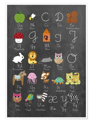 Premium poster Learn abc on chalkboard