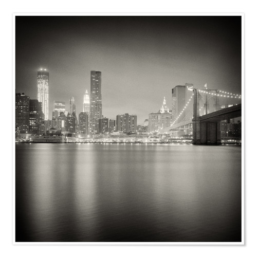 Poster New York Skyline at Night (Analogue Photography)