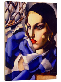 Wood print  The blue scarf - Tamara de Lempicka