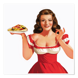 Poster the girl with a pizza
