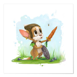 Poster  Mouse fox with bee Fairy-tale illustration gift idea nursery - Alexandra Knickel