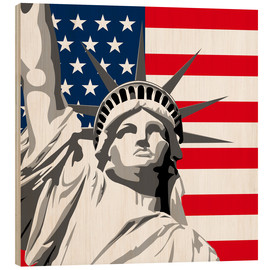 Wood print  statue of liberty - coico