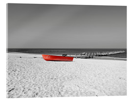 Acrylic glass  Red boat on the beach - HADYPHOTO by Hady Khandani