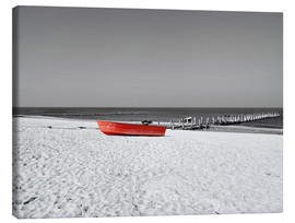 Canvas print  Red boat on the beach - HADYPHOTO