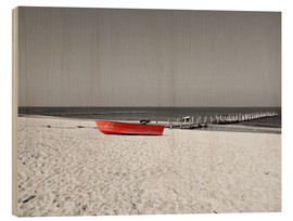 Wood print  Red boat on the beach - HADYPHOTO