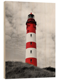Wood print  Lighthouse in Amrum, Germany - HADYPHOTO